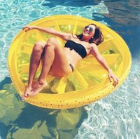 Wholesale 150cm Inflatable Watermelon Lemon Pool Floats Beach Swimming Toy Fruit Floating PVC Water Floating Mat Summer Swimming Ring QQA350