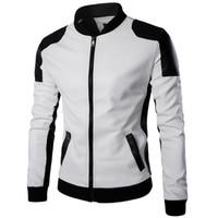 Wholesale Fall Patchwork Design PU Leather Jacket Men Business Motorcycle Jacket Casual Jacket British Style Biker Jacket Plus Size XL