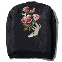Cheap MA1 Bomber jacket tide brand undercover Ghost hand embroidery Rose Flower coats 2016 winter new men High-quality thermal jacket