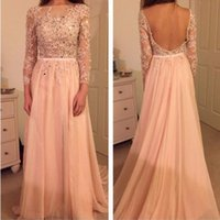 backless grad dresses - Elegant A line Lace Evening Prom Dress With Long Sleeve Backless Chiffon Long Party Gown grad dresses Formal Gowns