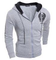 animal tattoo - Men s Fall Slim hoodies Eagle Tattoo Printed Jacket Leisure zipper jacket European American sports suit Men s Sportswear
