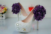Cheap New lace flower white high-heeled shoes handmade waterproof crystal shoes shoes with Rhinestone gown bride wedding shoes