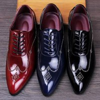 Wholesale In the new rivet handmade shoes sell like hot cakes men leather shoes wedding shoes party dress shoes