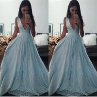 Actual Images baby blue evening gowns - Sexy Deep V Neck Baby Blue Evening Dresses A Line Sequins Lace Floor Length Prom Dresses Junior High School Graduation Party Gowns