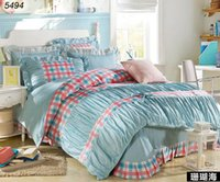 bet machine - Dots and plaids bedding set grids princess bet set reactive printed cotton bed clothes bow knot linens