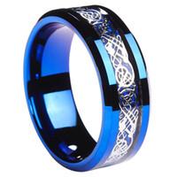 8m m Suface mate terminó la fibra azul del carbón del embutido del anillo del carburo de tungsteno del Mens y el anillo céltico céltico de la boda del dragón del nudo tamaño 7 # -13 #
