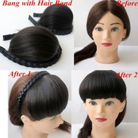 best hair bands - Hair bangs hair fringe with Hair Band synthetic hair Darkest Brown fashion hair extensions Accessories best seling