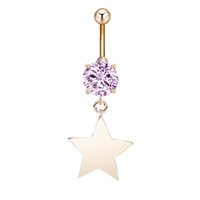 bell points - Five Pointed Star Body Jewelry Brand New Fashion Belly Button Rings Stainless Steel Barbell Dangle Star Navel Piercing Jewelry