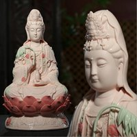 Wholesale 16 quot China Dehua Porcelain lotus Seat Kwan Yin Guan Yin Bodhisattva Buddha Statue
