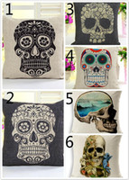 Wholesale Hold Pillow Cotton Linen Decorative Soft Fashion Pillow Cover Unique Skull Pattern Creative Setting Room Pillow Home Decoration Pillowcase