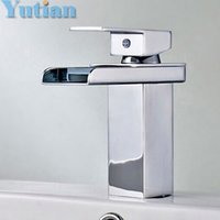 Wholesale Copper Chrome Waterfall Bathroom Faucet Bathroom Basin Hot and Cold Mixer Brass Lavatory Tap torneira YT