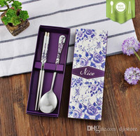 Wholesale Dinnerware Sets Flower Chopsticks Print Stainless Steel Chopsticks for Home Restaurant Per Set Chinese Style Thread Stylish tableware