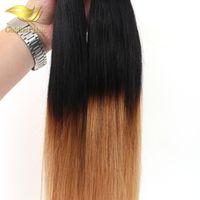 achat en gros de 14 pouces de tissages droites-Vente en gros Péruvien Indien de Malaisie Deux Tone Ombre Cheveux 10- 26 Inch Straight Cheveux Humains Tissage T1B 27 Ombre Tissu Cheveux Humains