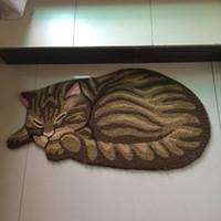 Wholesale Fashion Hand Hooked Vivid Cat Shaped Mat Living Door Mats Carpet Novelty Embroidered Porch Doormat Floor Karpet Kitchen Rugs Gift
