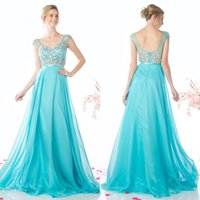 Wholesale Turquoise Chiffon Sheer V Neck Capped Sleeves A Line Prom Dresses Long Sexy Backless Fitted Beaded Sweep Train Bridal Gowns Custom EN3268