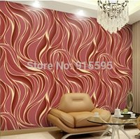 Wholesale Yulan Luxury Fashion D Abstract Wave Embossed Flocking Non Woven Wall Paper Mural Natural Wall Covering TV Background Decor