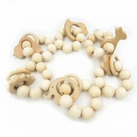baby shower sale - 6 Per Sale Chunky Baby Teething Toy Ring Wooden Montessori Baby Natural Wood Animails Teether BITING BEADS Baby Shower Gift GT001