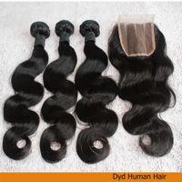 El cierre de tres partes de encaje con haces de pelo, 4pcs onda peruana del cuerpo sin transformar Virgen del pelo / lot, envío libre.