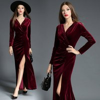 Wholesale 2017 Velvet Wine Red Fashion Cheap Long Prom Dresses Hot Sale Sexy V Neck Split Elegant Turquoise Formal Evening Homecoming Gowns