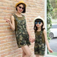 Wholesale 2016 summer new Family fitted denim overalls t shirt camouflage shorts skirts mother and daughter Suspenders suit