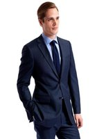 best business casual pants - Navy Blue Groom Tuxedos Side Vent Two Buttons Best man Casual Groomsman Business Evening Mens Slim Fit Suits Jacket Pants
