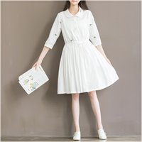 Wholesale summer new white flowers embroidered cotton big yards female literary small fresh Sleeve Dress big skirt