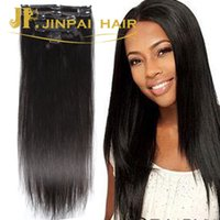 24 inch clip in human hair extensions - Cheap Human Hair Clip In Hair Extensions For African American Black Women g sets A Natural Black Color