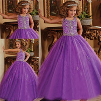 Wholesale 2016 Glitz Pageant Dresses for Little Girls Crystal Organza Lace Up Toddler Pageant Dresses Flower Girls Purple Ball Gown Kids Formal Wear