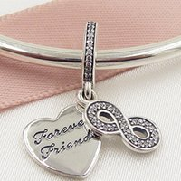 autumn bracelet - 2016 Autumn Sterling Silver Forever Friends Dangle Charm Bead with Clear CZ Fits European Pandora Style Jewelry Bracelets Necklace