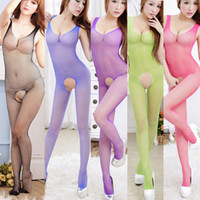 Nylon lingerie - Women s Girl s One piece Lingerie Sexy Set Underwear Fishnet Mesh Free Size Open Crotch Bodysuit Intimate Nx103
