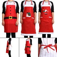 Wholesale Hot Selling High Quality Christmas Kitchen Bar Creative Red Christmas Applique Aprons three Style