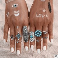 antique style rings - Fashion turquoise rings sets of ring a pack USA style fashion jewellery antique rhodium plated