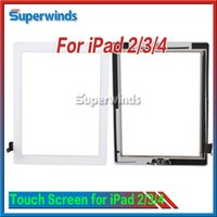 Wholesale Touch Screen Glass Panel with Digitizer Buttons Adhesive for iPad Black and White Free DHL