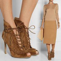 Cheap women dress shoes high heels Brown Women Sandals Cheap Modest Summer Autumn Shoes New Arrive Elegant Lace Up Tassel High Thin Heels