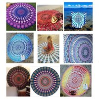 beach throws - New Indian Mandala Round Roundie Beach Throw Tapestry Hippy Boho Gypsy Tablecloth Beach Towel Round Mat