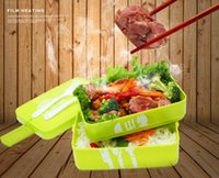 bento lunch box set - New Arrive Three Layer Rectangle Lunch Box Container Eco Friendly Lunchbox Bento Container For Food Dinnerware Sets