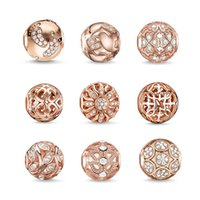austrian beads - Women s Fashion Rose Gold Jewelry DIY White Austrian Crystal Animal Plant Charm Big Hole Loose Bead for European Bracelet B05