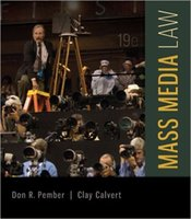 Wholesale Mass Media Law th Edition by Don Pember Author Clay Calvert Author