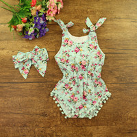 ear covers - 2016 baby girl toddler piece set outfits fringe tassels cotton Rose floral romper onesie bloomers diaper covers bunny ears headband