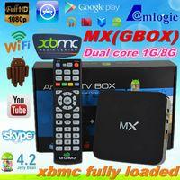 1GB 16GB Black XBMC Fully Loaded AML8726 Dual core Android tv Box MX 1G 8G Google MX2 Droidbox G-Box cid tv box WiFi RJ45 +remote control