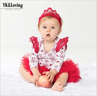 bebe skirt - 2017 Children s Christmas Autumn Sets Baby Girls Cotton Floral Rompers with Lace tutu Skirts Babies Fashion Outfits bebe clothes