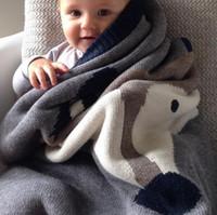 Wholesale New Baby Blankets Newborn Muslin Swaddle Black Fox Rabbit Blanket Knit Cartoon Bath Towels Soft Toddler Wrap Envelope CM