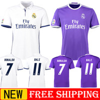 Wholesale 2016 Real Madrid Scccer Jersey Cheap Mens Sets High Quality RONALDO BENZEMA JAMES SERGIO RAMOS ISCO BALE Uniforms Custom Jerseys