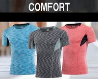 Wholesale Male Colorful Outdoor Clothes Compression Shirts Sport Hoodies Fitness For Man Workout Clothes Short Sleeve Outfits Breathable Sport Wear