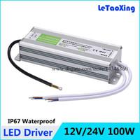 al por mayor 12v dc regleta resistente al agua-Lámpara de la luz de tira del adaptador LED de los transformadores de la fuente de alimentación del CC 100W LED impermeable al aire libre 12V / 24V 100W libera el envío