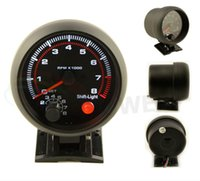 Wholesale 3 mm Tachometer Gauge Black Rim Black Face Tachometer Rpm Gauge RPM Meter With RPM Shift Light Auto Gauge