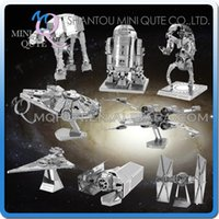 Wholesale Full set pc Mini Qute Piece Fun D Metal Puzzle Star War AT AT Walker R2D2 TIE Fighter Millennium Falcon X Wing educational toy