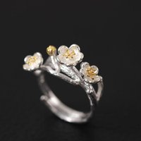 Wholesale Fashion Literature Original Design Genuine S925 Sterling Silver China Handmade Wind Jewelry Plum Blossom Ring Flower Modeling