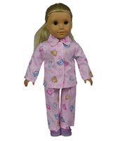 Wholesale 18 inch Fashion Style Doll Clothes Pink Heart Pattern American Girl Doll Pajamas for American Girl dolls