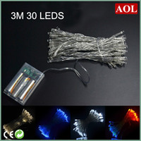 LED Christmas Waterproof Outdoor Indoor Holiday 3M 30 LED 4 colors choose String Lights Battery Operated Christmas New Year Wedding Decorations For Garden